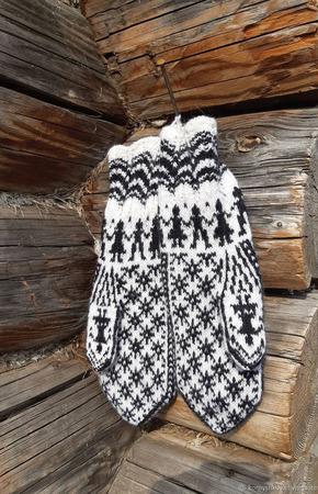 Варежки норвежские с ажурной резинкой ручной работы на заказ