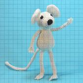 Вязаная мягкая игрушка «Белый мышонок»