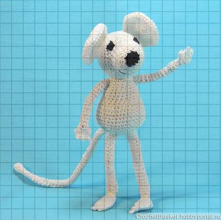 Вязаная мягкая игрушка «Белый мышонок» ручной работы на заказ