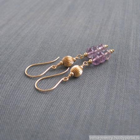 """Серьги """"Lilac & gold"""" из позолоты с аметистами ручной работы на заказ"""