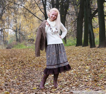Твидовая юбка на зиму ручной работы на заказ