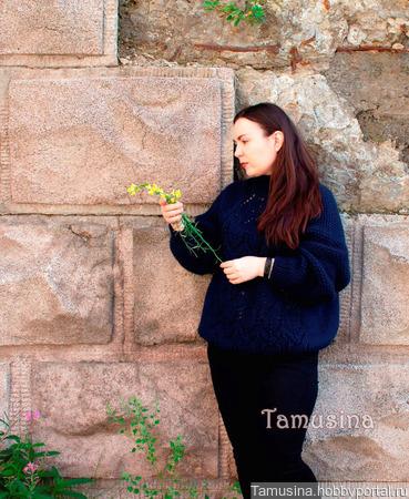 Свитер оверсайз для женщины для девушки тёмно-синий ручной работы на заказ