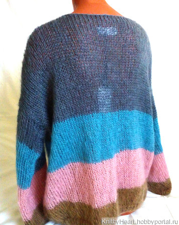 Вязаный свитер из мохера в стиле ColorBlock ручной работы на заказ