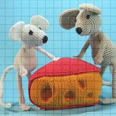 Набор мягких вязаных игрушек «Два мышонка с сыром»