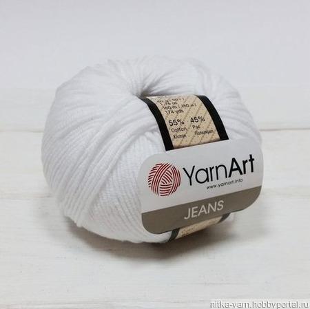 Пряжа YarnArt JEANS - (01 - Белый) ручной работы на заказ