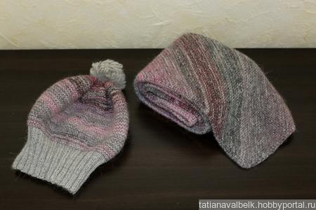 Вязаная шапка и шарф серо-розовый ручной работы на заказ
