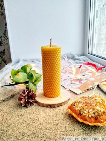 Свеча из вощины большая ручной работы на заказ