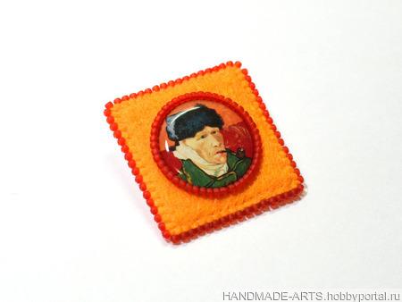 """Брошь """"Винсент Ван Гог. Автопортрет"""" ручной работы на заказ"""