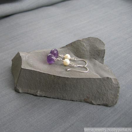 """Серьги """"Wild orchid"""" из серебра с аметистами и жемчугом ручной работы на заказ"""
