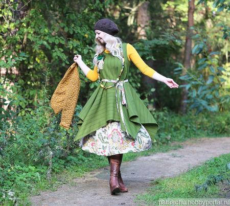 Платье в стиле бохо шерстяное ручной работы на заказ