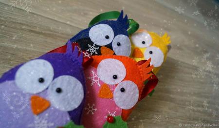 Елочная игрушка: Воробьи ручной работы на заказ