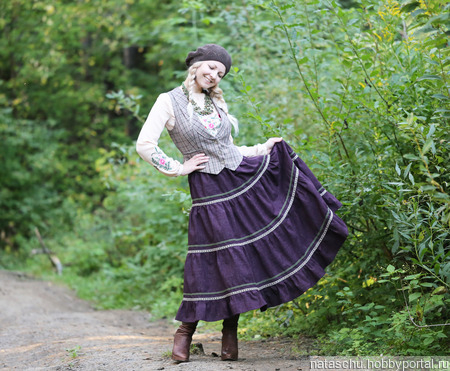 Бохо-юбка из полушерсти на осень и зиму ручной работы на заказ