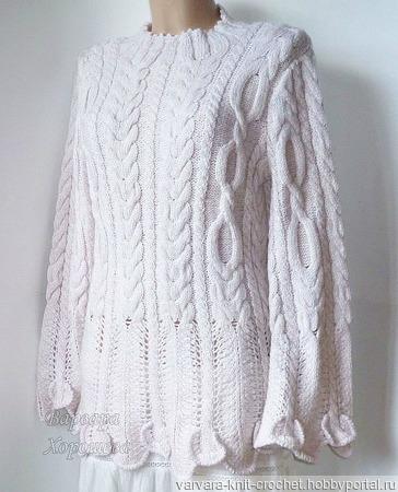 Белый свитер с косами ручной работы на заказ