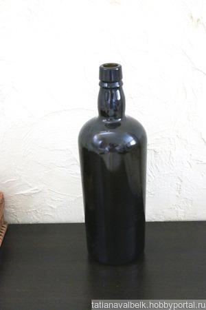 """Бутылка стеклянная темная с """"плечиками"""" ручной работы на заказ"""