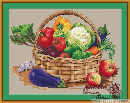 """Схема для вышивания """"Урожайная корзина"""" ручной работы на заказ"""