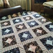 Лоскутное одеяло-покрывало ручной работы