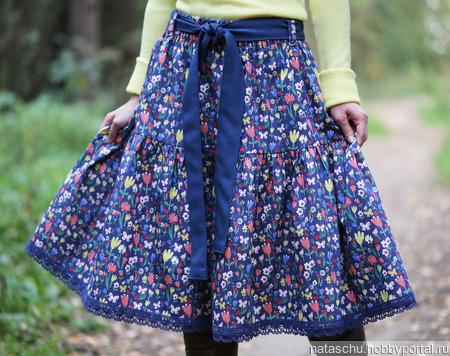 Джинсовая юбка миди на осень-веcну ручной работы на заказ