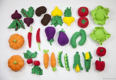 Овощи 14 шт. из флиса для игры ручной работы на заказ