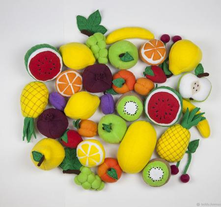 Фрукты и ягоды для игр. 15 шт. ручной работы на заказ