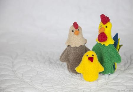Пальчиковый театр - петух, курица и цыпленок ручной работы на заказ