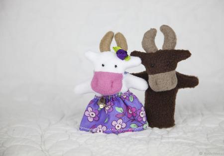 Пальчиковая игрушка Корова ручной работы на заказ