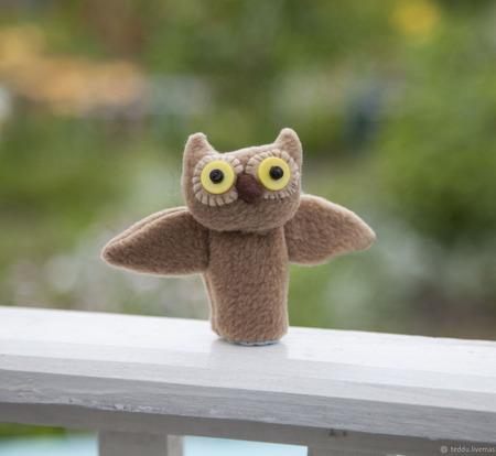 Пальчиковая игрушка Сова ручной работы на заказ