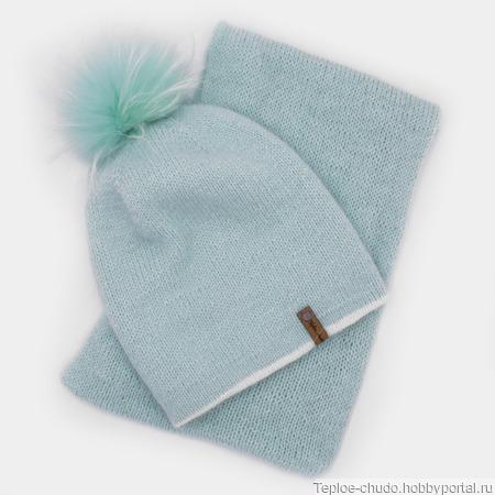 Комплект - шапка и шарф из ангоры ручной работы на заказ