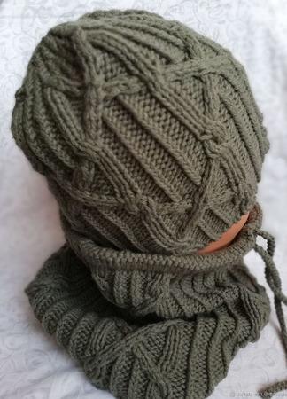 Комплект вязаный шапка и снуд ручной работы на заказ
