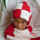 Комплект мужской вязаный шапка и шарф Фанат Спартака