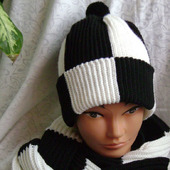 "Комплект мужской вязаный шапка и шарф ""Фанат Торпедо"""