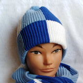 "Комплект мужской вязаный шапка и шарф ""Фанат Зенита"""