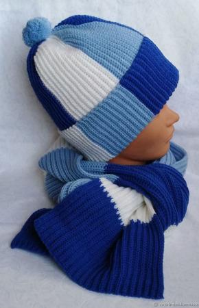 """Комплект мужской вязаный шапка и шарф """"Фанат Зенита"""" ручной работы на заказ"""