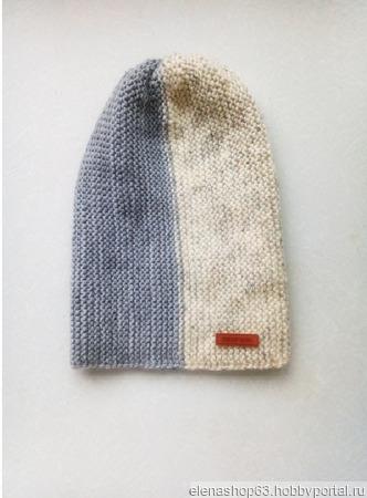 Шапка бини White-Gray ручной работы на заказ