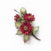 Брошь осенние бордовые цветы хризантемы из фоамирана