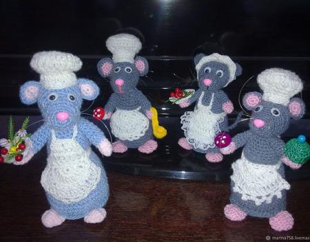 Вязаная Мышь и Крыса Поваренок ручной работы на заказ