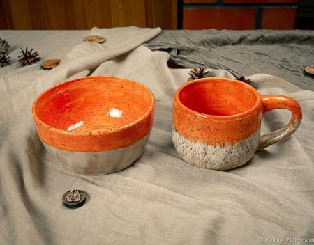 Кружка ярко оранжевая ручной работы на заказ
