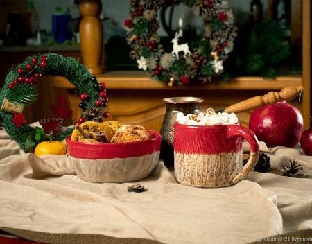 Кружка и тарелка в ярко красном стиле ручной работы на заказ