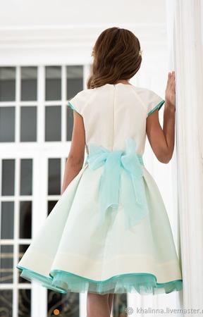 """Платье """"Айвори"""" с бирюзой ручной работы на заказ"""
