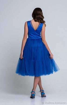 Платье нарядное синего, красного  цвета ручной работы на заказ