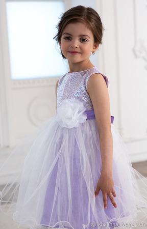 Платье белое, лиловое, розовое пышное ручной работы на заказ