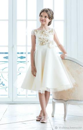 Платье молочного, голубого и мятного цвета ручной работы на заказ