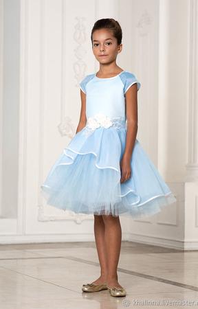 Платье небесного цвета ручной работы на заказ