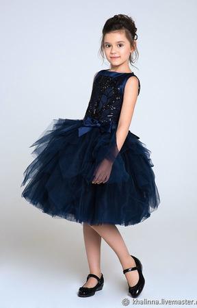 Платье чернично-белое, красное и черника ручной работы на заказ