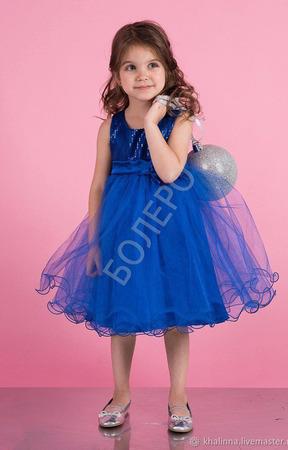 Платье пышное синее, красное и белое ручной работы на заказ