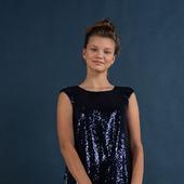 Платье с пайетками синего цвета