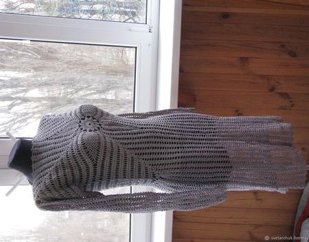 Платье крючком с длинным рукавом ручной работы на заказ