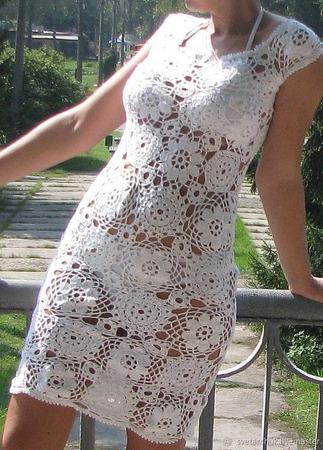 Платье крючком из мотивов ручной работы на заказ