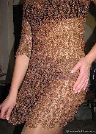 Платье крючком с рукавом 3/4 ручной работы на заказ
