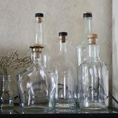 Бутылки стеклянные прозрачные в ассортименте с пробками