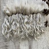 Волосы для кукол белые немытые, коза (пряди/кудри/локоны)